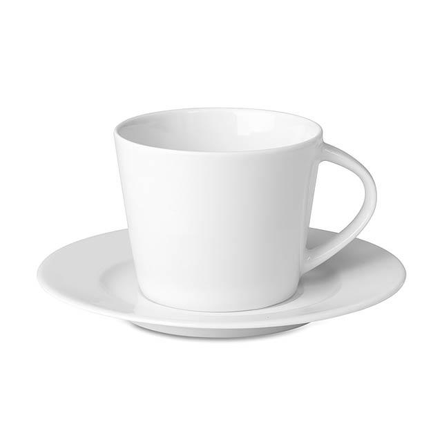 Cappuccino šálek s podšálkem - PARIS - bílá