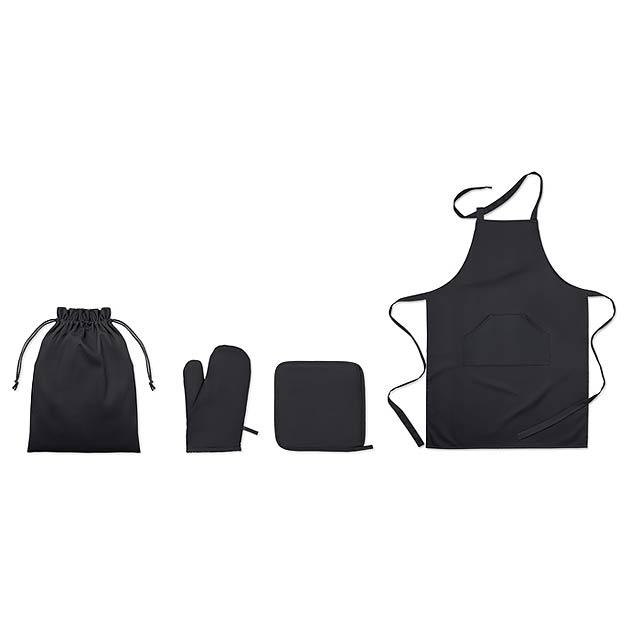 Kuchyňský bavlněný set - SET AVENTAL - černá