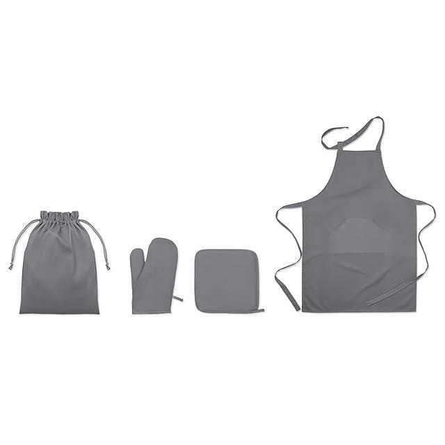 Kuchyňský bavlněný set - SET AVENTAL - šedá