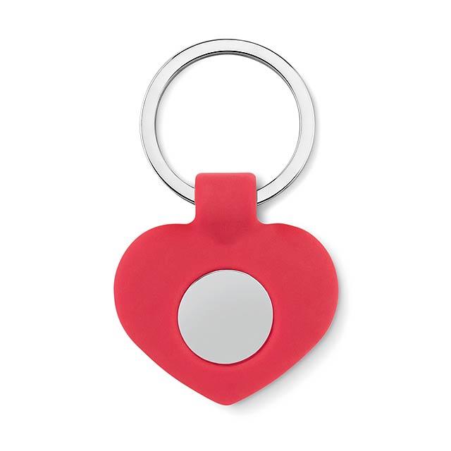 Silikonová klíčenka se žetonem - Cuore - červená