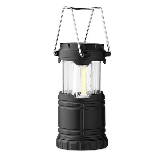 COB kempovací svítilna - Lykta - černá