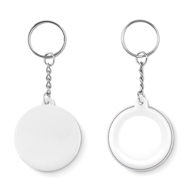 Small pin button key ring  - Weiß