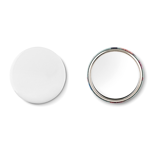 Mirror button, metal  - mattes Silber