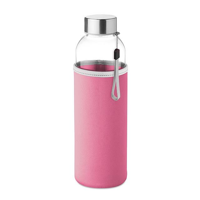 UTAH GLASS - Skleněná láhev 500 ml          - růžová