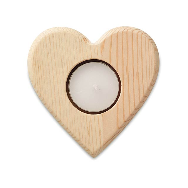 Heart shaped candle holder     MO9377-40 - wood