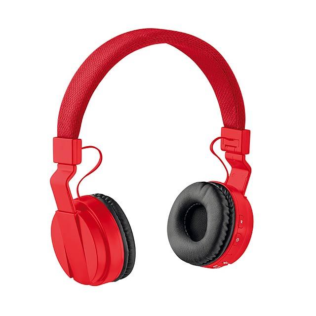 PULSE - Skládací bluetooth sluchátka   - červená