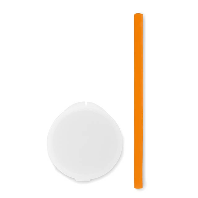 FLEXY STRAW - Silikonové brčko v pouzdře     - oranžová
