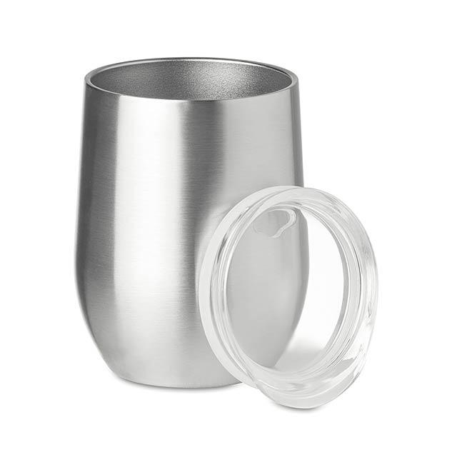 CHIN CHIN - Dvoustěnný hrnek               - stříbrná mat