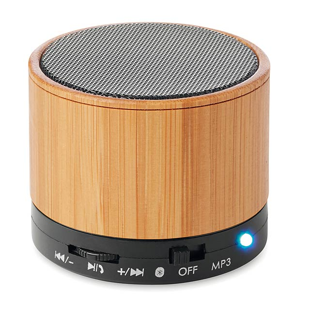 ROUND BAMBOO - Bluetooth reproduktor bambus   - černá