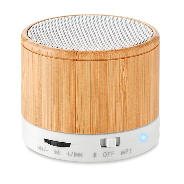 ROUND BAMBOO - Bluetooth reproduktor bambus   - bílá