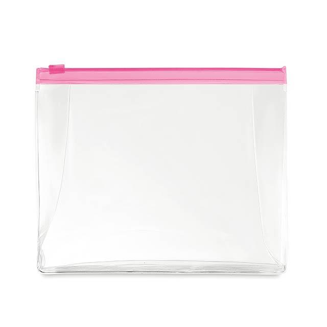 COSMOBAG - Kosmetická taštička            - transparentní fuhsiová