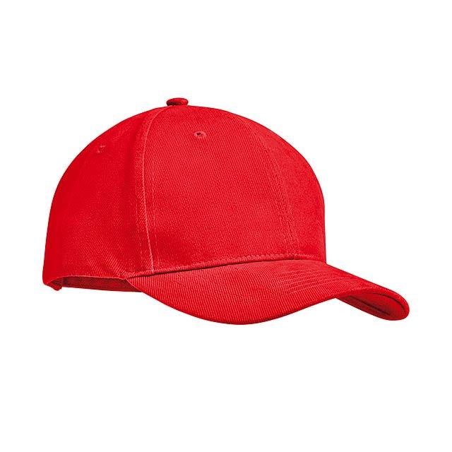 TEKAPO - Šestipanelová kšiltovka        - červená