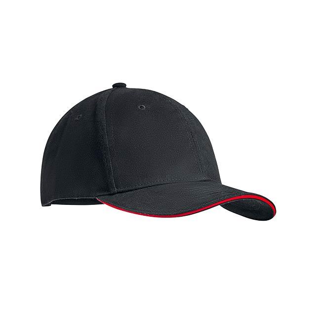 DUNEDIN - Šestipanelová kšiltovka        - červená