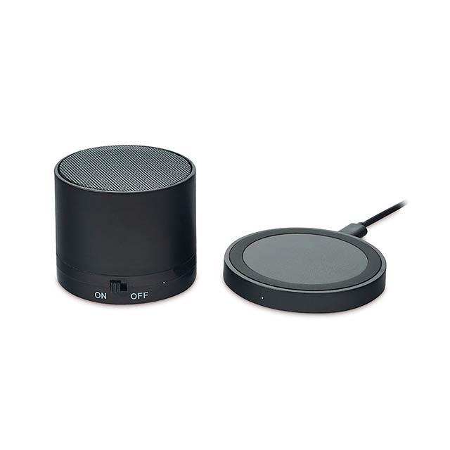 ROUND LESS - BT reproduktor a nabíječka     - černá