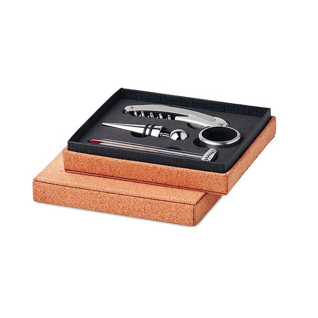 GISBORNE - Set na víno v korkové krabici  - béžová