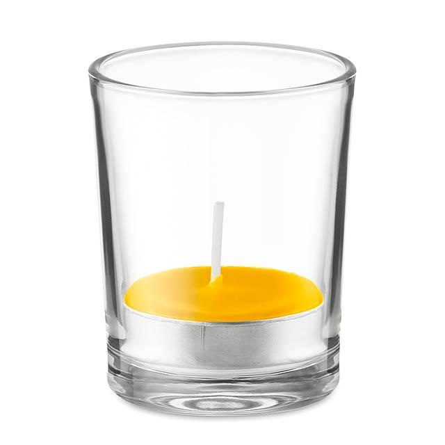 TRANSPARENT - Svícen ze skla se svíčkou      - žlutá