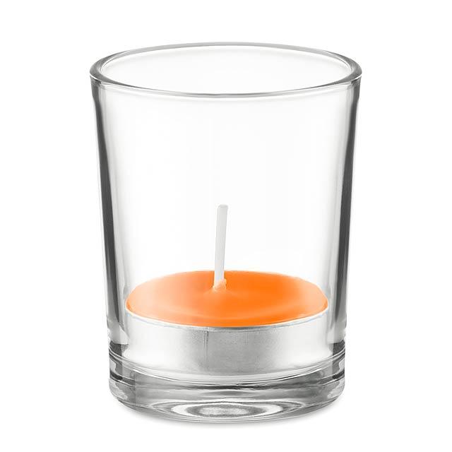 TRANSPARENT - Svícen ze skla se svíčkou      - oranžová