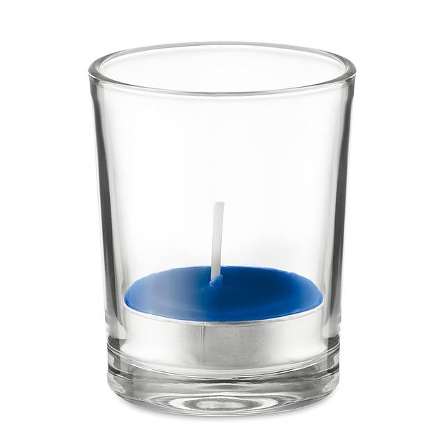 TRANSPARENT - Svícen ze skla se svíčkou      - královsky modrá