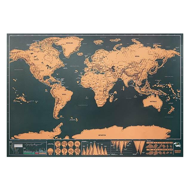 BEEN THERE - Stírací mapa světa 42x30cm     - béžová
