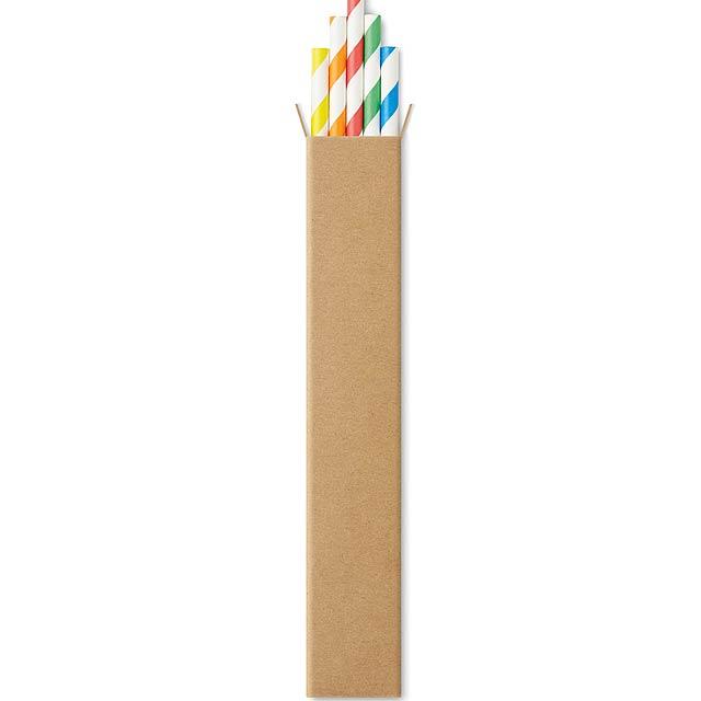 PAPER STRAW - Papírová brčka, 10ks  - multicolor