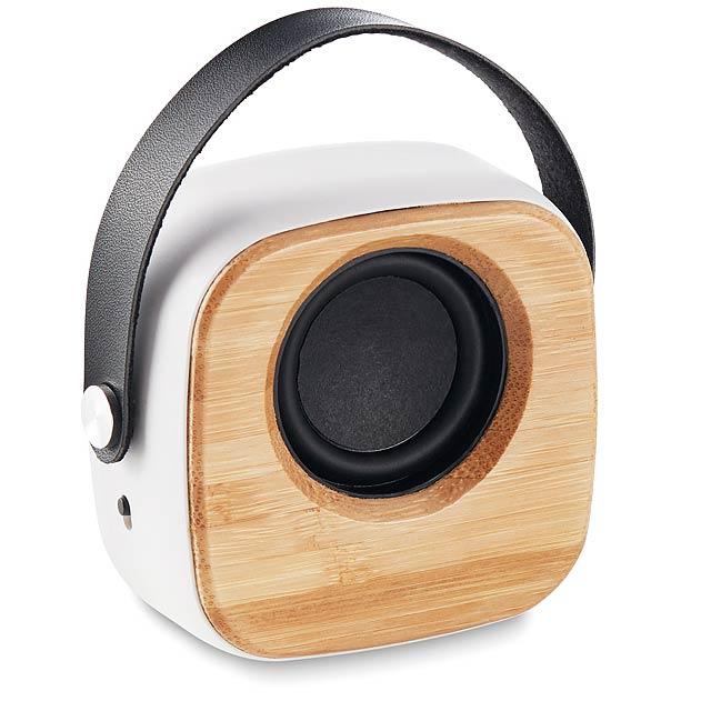 OHIO SOUND - Reproduktor s bambusovým čelem - bílá