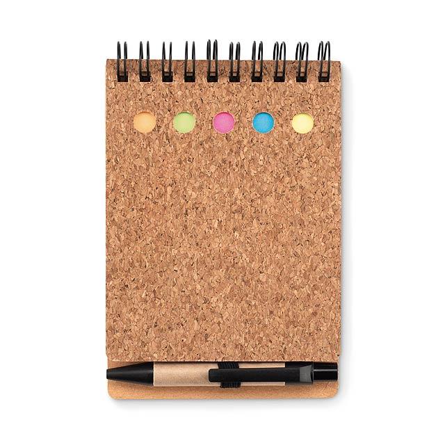 MULTICORK - Zápisník a lepítka, korek  - černá