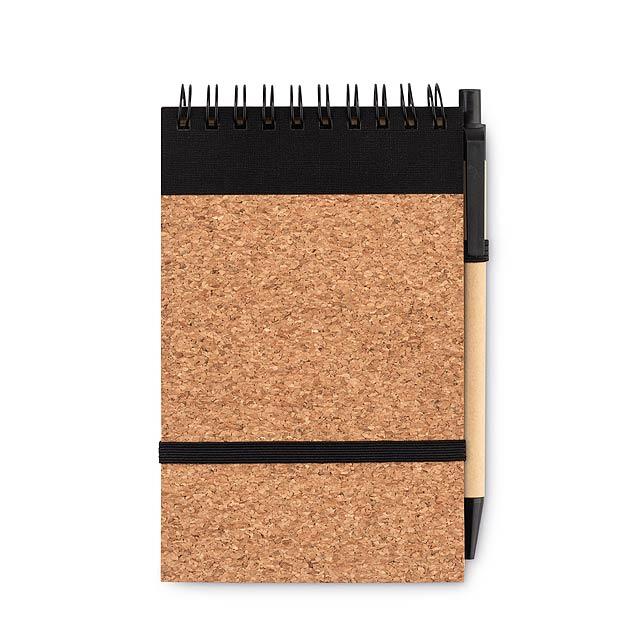 SONORACORK - Zápisník A6 a propiska, korek  - černá