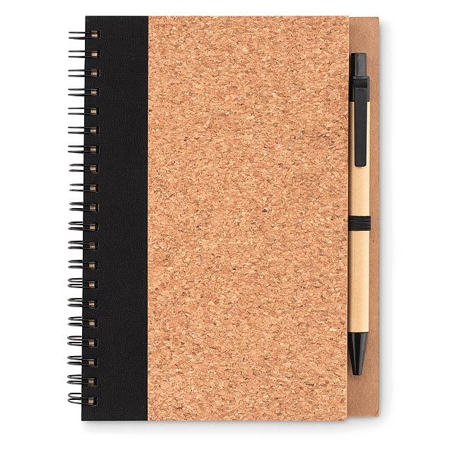 SONORA PLUSCORK - Zápisník a propiska, korek  - černá