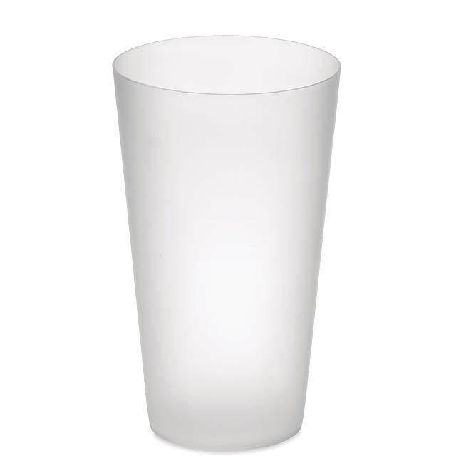 FESTA CUP - Frosted PP cup 550 ml  - transparentní bílá