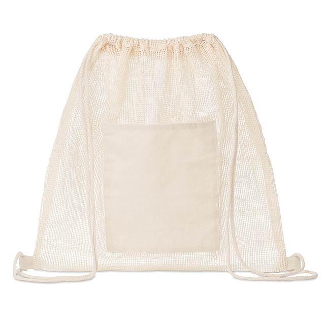 TROU BAG - Stahovací batoh ze síťoviny  - béžová
