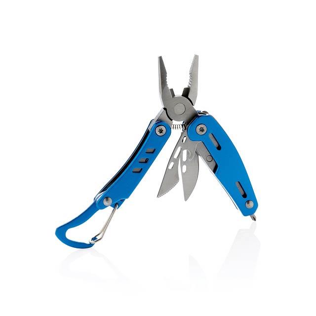 Multifunkční nůž s karabinou Solid mini - modrá