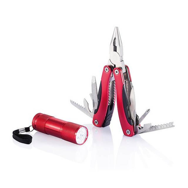 Sada multifunkčních kleští a baterky - Red