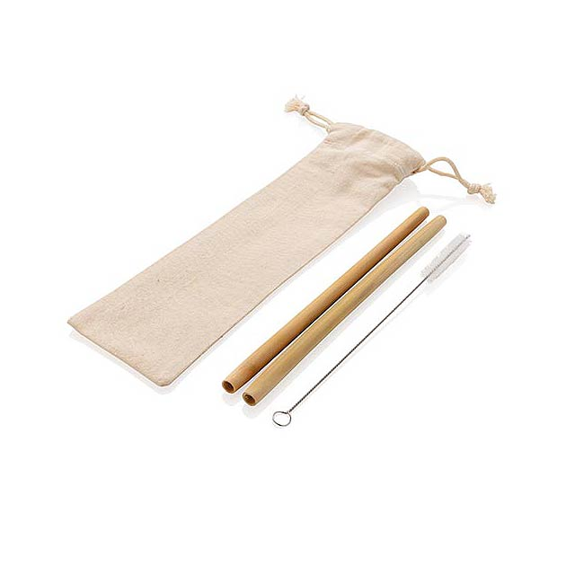 Opakovaně použitelný set brček z bambusu 2ks - bílá