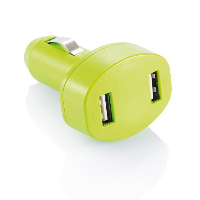 Dvojitá USB nabíječka do auta - green