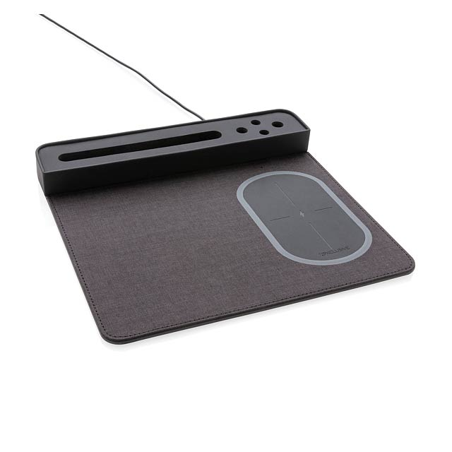 Air podložka pod myš s bezdrátovým nabíjením a USB - černá