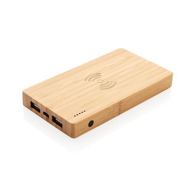 Ekologická powerbanka vyrobená z odolného přírodního bambusu. Kvalitní lithium polymerová baterie řady A s kapacitou 4 000 mAh plně nabije mobilní telefon až 2x. Světelné indikátory stupně nabití. Powerbanka podporuje 5W bezdrátové nabíjení i klasické nabíjení skrze USB port. Bezdrátové nabíjení je kompatibilní se všemi telefony podporujícími QI, jako jsou nejnovější generace Android, iPhone 8 a výše. Micro USB vstup: 5V/2A. USB výstup: 5V/2A; Bezdrátový výstup: 5V/1A 5W. - hnědá - foto