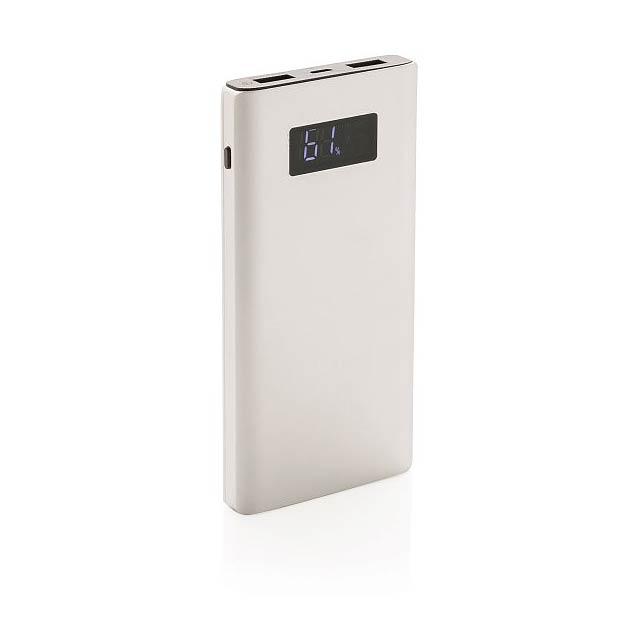 Powerbanka 10000 mAh s funkcí rychlého nabíjení, stříbro - stříbrná