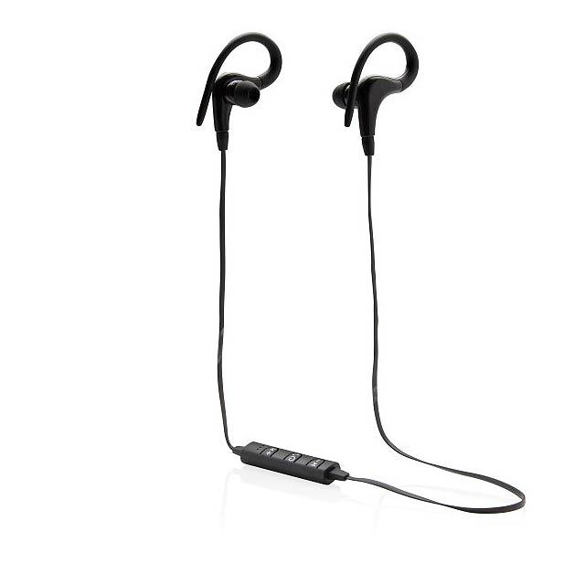 Bezdrátová sluchátka do uší na cvičení, černá - černá