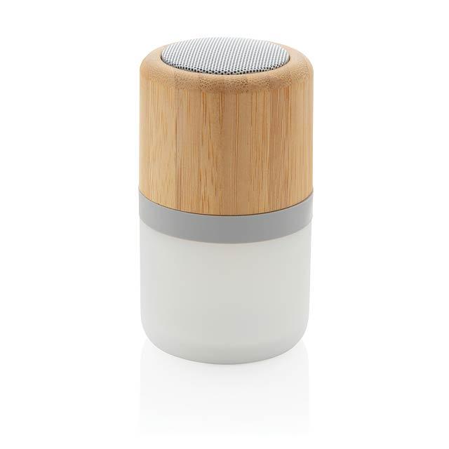 Bambusový reproduktor 3W s náladovým světlem - bílá