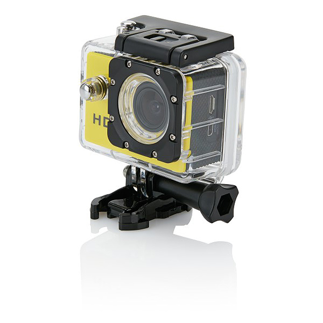Action camera inc 11 accessories, yellow/black - yellow