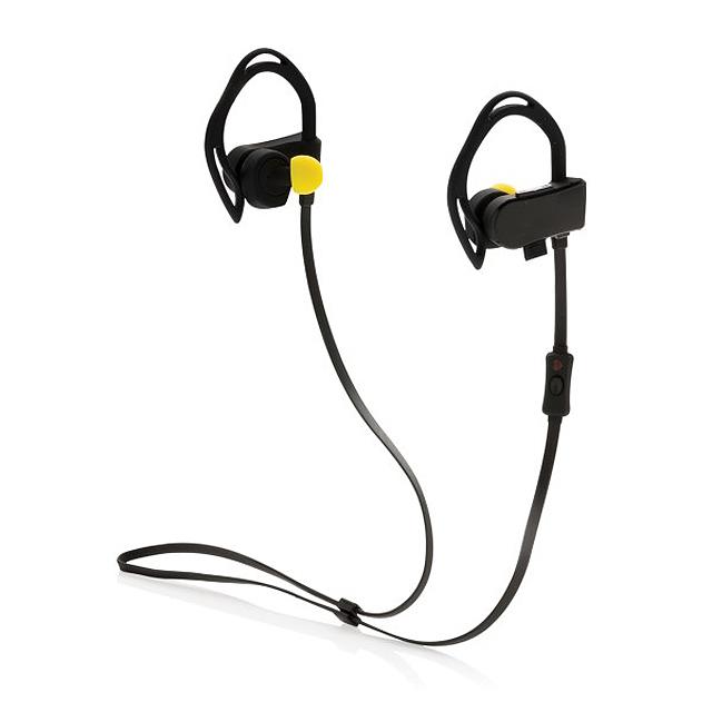 Bezdrátová sluchátka s měřením tepu a krokoměrem, černá - černá