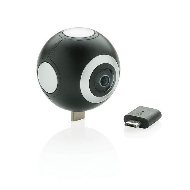 360° kamera se dvěma objektivy, černá - černá