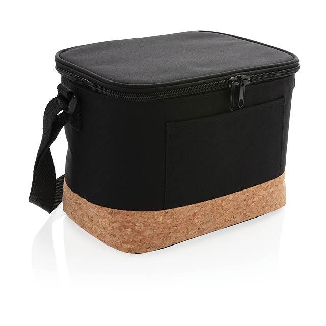 Dvoutónová chladící taška s korkovým detailem - černá