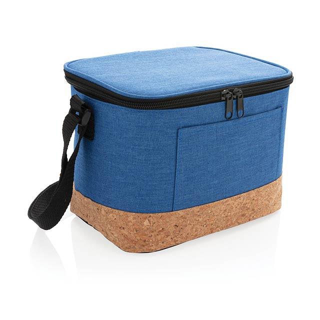 Dvoutónová chladící taška s korkovým detailem - modrá
