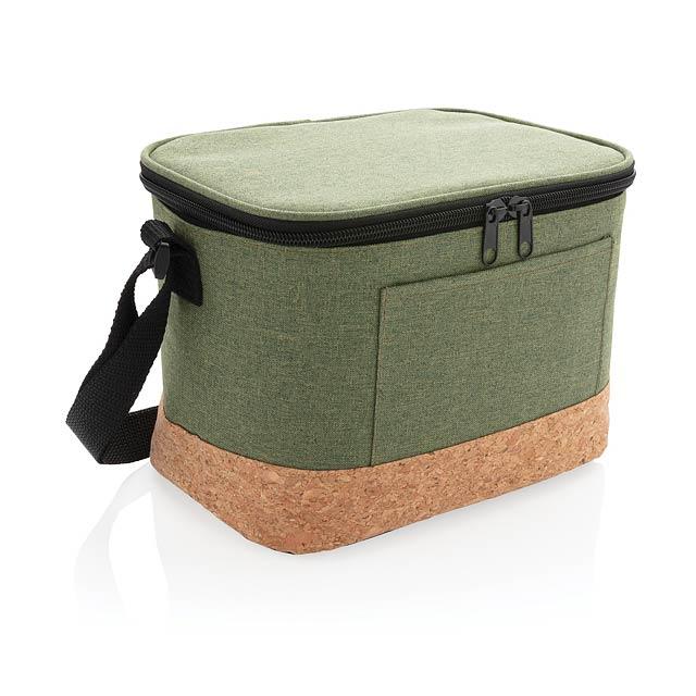 Dvoutónová chladící taška s korkovým detailem - zelená