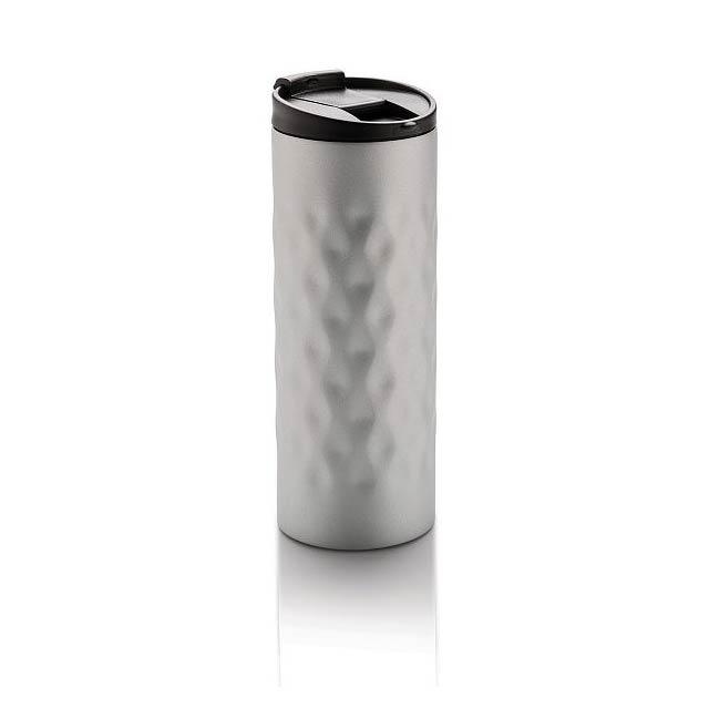 Geometrický termohrnek, stříbro - stříbrná
