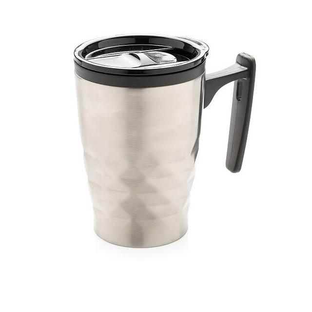 Hrnek na kávu sgeometrickým vzorem, stříbro - stříbrná