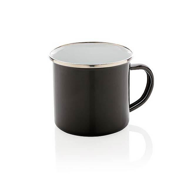 Retro smaltový hrnek - černá