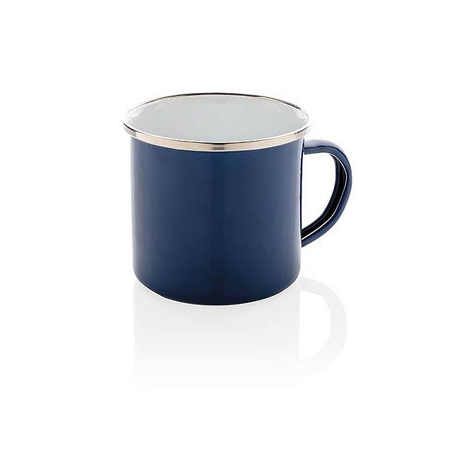 Retro smaltový hrnek - modrá