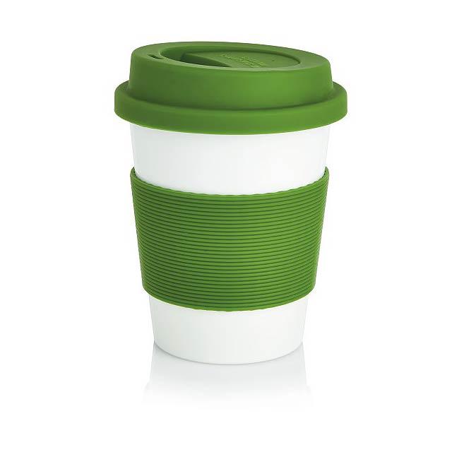 Ekologický hrnek oobjemu 350ml se silikonovým úchytem a víčkem. Vyroben ze 100% biologicky rozložitelného rostlinného materiálu (PLA). Bez BPA, vhodný do myčky. - zelená - foto